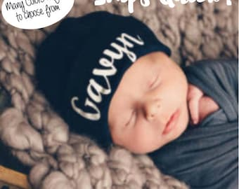 Personalized Newborn Hat, Navy Blue Hospital Hat, Baby Boy Newborn Hat, Personalized Baby Girl Hat, Newborn hat with Name, Blue Baby Hat
