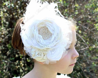 White/Ivory Couture-Baby Headband-Photo Prop-Wedding Bridal  Headband-Couture Headband,White/Ivory Birthday Headband