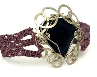 Lavander Bracelet, Macrame Bracelet, Gemstone Bracelet, Boho Bracelet, Woven Bracelet, Wax Cord Bracelet, Gemstone Bracelet, Retro Bracelet