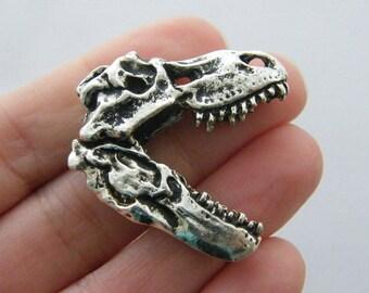 BULK 5 Dinosaur skull charms antique silver tone A490
