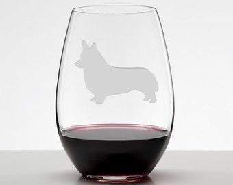 Corgi, Welsh Corgi Wine Glass, Etched Stemless Wineglass