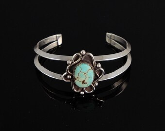 Light Blue Turquoise and Sterling Silver Bracelet / Eggshell Blue / Handcrafted / Unique