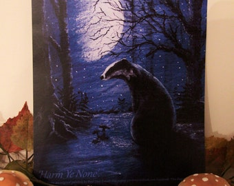 Badger in the Moonlight (Harm Ye None) A4 Print.