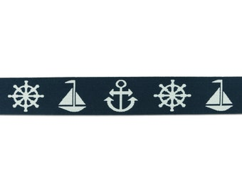 1 m Rubber band anchor-steering wheel-sailing ship-40 mm wide-navy blue-white