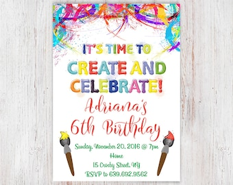 Paint birthday party, paint party invitation, art birthday party invitation, craft party invitation, rainbow art, painting party  57