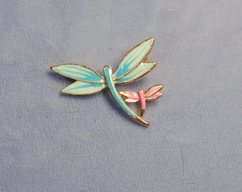 Dragonfly Vintage Brooch ~ Mother's Day Pin ~ Mother and Child Enamel Dragonflies Pin from the 1980's