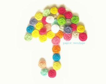 10 Fabric Rosette Embellishments, Mixed Color Assortment, Bright Spring & Summer Colors, Set of 10  (1 inch) Rosettes