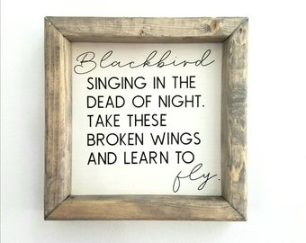 Blackbird singing in the dead of night. Beatles decor. Blackbird lyrics. Beatles art. Farmhouse Style. Gifts under 50. FREE SHIPPING