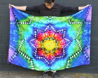 Tye Dye Mandala Fringed Sarong - Hand Dyed - Wildflower Dyes - Festival fashion