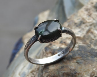 Natural Nephrite Jade Sterling Silver Ring.
