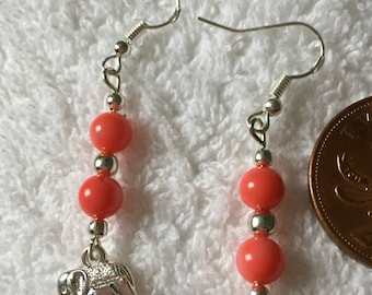 Pink coral elephant earrings