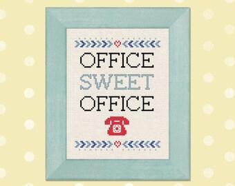 Office Sweet Office Cross Stitch Pattern, Work Quote Cross Stitch Pattern, Modern Simple Cute Cross Stitch Pattern PDF Instant Download