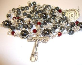Catholic rosary, Shroud of Turin, labrodite and hematite gemstones,AbundantGraceRosaries,Indylin,free shipping,gemstone rosary,5decaderosary