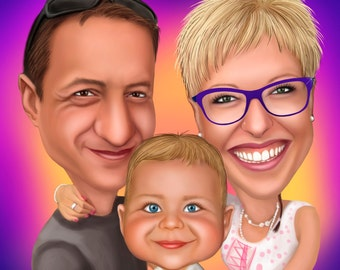 Custom FAMILY Caricature / family illustration / family cartoon / family portrait gift / illustrated family / family drawing / custom family