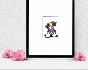 Framed Brittany Dog Original Art ACEO Stars Stripes