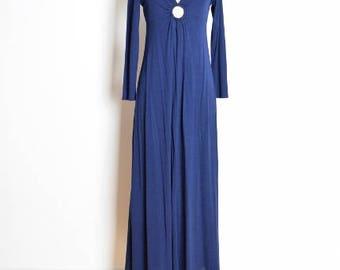 vintage 70s dress, 70s sailor dress, 70s maxi dress, dolly collar dress, long dress, navy white, long dress, 70s clothing, sailor collar, S