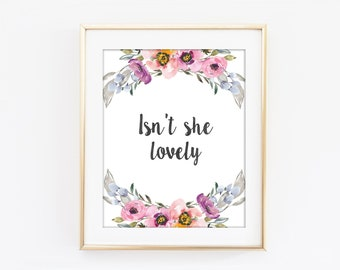 Isn't She Lovely Print, Inspirational Typography, Colorful Flower, Motivational Print, Modern Home Decor, Bedroom Art, Kitchen Wall Art Q111
