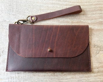 Dark brown leather clutch~wristlet~Ready to Ship