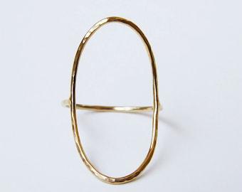 Bague en or ovale ouvert Saturne