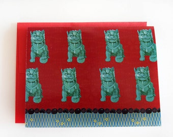 Foo Dog Note Cards - Chinoiserie Cards - Red & Turquoise