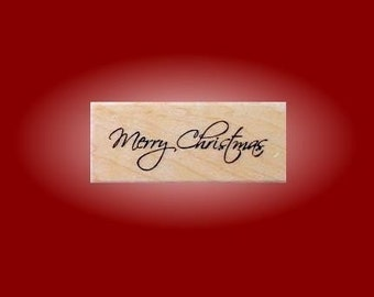 MERRY CHRISTMAS Mounted rubber stamp, holiday, DIY gift tags & Christmas cards stamp, Sweet Grass Stamps No.13