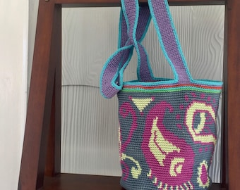 Blue and Pink Paisley Bag - Crochet Tote Bag - Tapestry Crochet Crossbody Purse