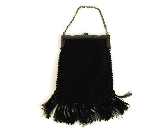 Black Crochet Purse with Tassels and Chain Handle. French 1920s Fashion Evening Bag. Vintage Boho Handbag.