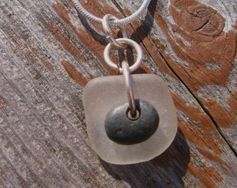 Lake Superior Beach Glass and Zen Stone Pendant Necklace
