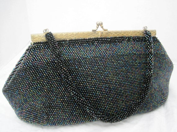 Blue Beaded Purse, Glass Iridescent Beads, 50's Handbag, Collectible Purse, Gift for Woman