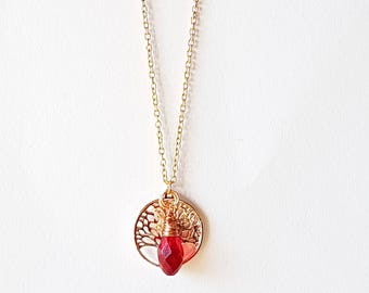 Rose gold Family tree necklace, Wire wrapped Crystal Necklace,Tree of life Personalized necklace,Handstamped family tree mom necklace,
