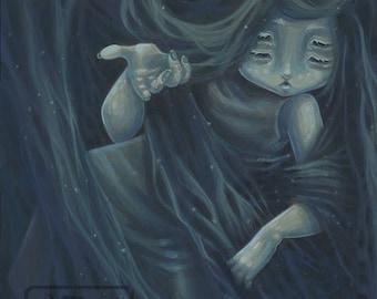 In her hair- Lowbrow gothic fantasy spider art print