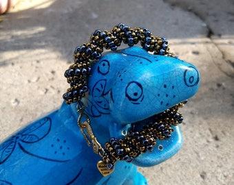 Handmade Hematite Cellini Spiral Bracelet