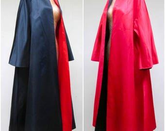 Vintage 1950s Swing Coat / 50s Reversible Black and Red Satin Evening Coat Viva Las Vegas / Medium
