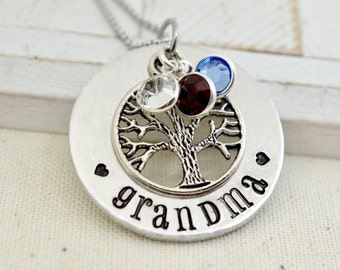 Mothers Day Necklace For Grandma, Mothers Day Gift For Grandma, Grandmothers Birthstone Necklace, Family Tree Necklace, Personalized Gift