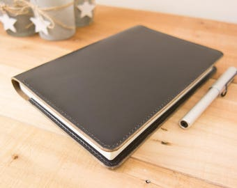 Leather Taroko Enigma or Mystique Cover, A5 Notebook Cover, Bullet Journals, Fountain Pen, Tomoe River Paper, Horween, Black