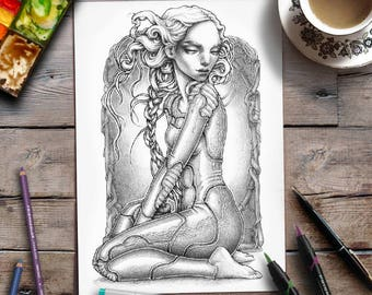 Grayscale Coloring Page | Advanced Coloring | Woman | Science Fiction Space Fantasy