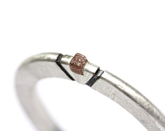 Rough Diamond Cube Silver Ring Engraved Oxidized Triangle Accent Pale Brownish Red Simple Minimalistic Women's Gemstone Band - Aztec Moon