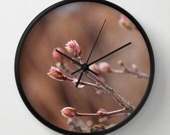 Photo Wall Clock, New Life,Rose,Pink,Mauve,Botanical Clock,Retro Clock,Home Decor,Round Clock,Holiday Clock,Home Accessories,Interior Design