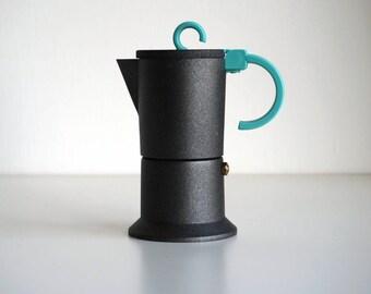 Italian 2 cups coffee maker vintage 90s, dark gray coffe moka pot for stovetop espresso