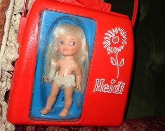 Remco  Heidi  pocket doll, blonde with case