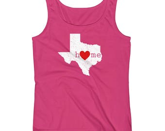 Cute Texas Tank Top Shirt Home with Heart and Distressed TX State Map Novelty Graphic Design Sleeveless Tanks T Shirt for Texan Strong Women