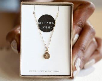 BELLA Tiny Necklace, Dainty Necklace Gold, Tiny Necklace for Women, Druzy Necklace Gold, Small Druzy Necklace, Gold Drusy Necklace