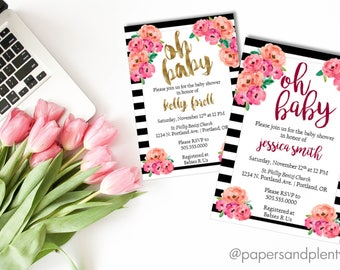 Floral Baby Shower (PINK or GOLD) | Spring Baby Shower | Black Striped Baby Shower Invite | Pink & Black Invite | Baby Girl