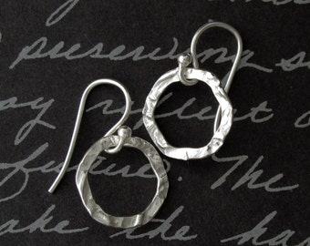 hammered hoop sterling silver earrings