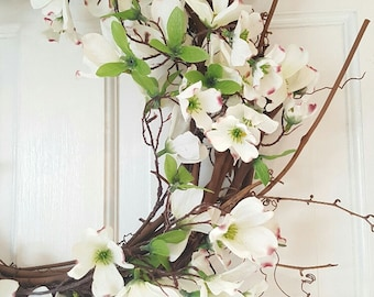 Summer Wreath, Spring Wreath, Front Door Wreath, Country Home Decor, Home Decor, Dogwood Wreath, Wedding Wreath, Gift for Her, Housewarming