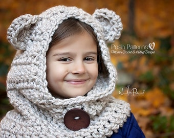 Crochet PATTERN - Hooded Cowl Pattern - Crochet Hood - Crochet Scarf Pattern - Crochet Pattern Baby - Baby,Toddler,Kids,Adult Sizes- PDF 396