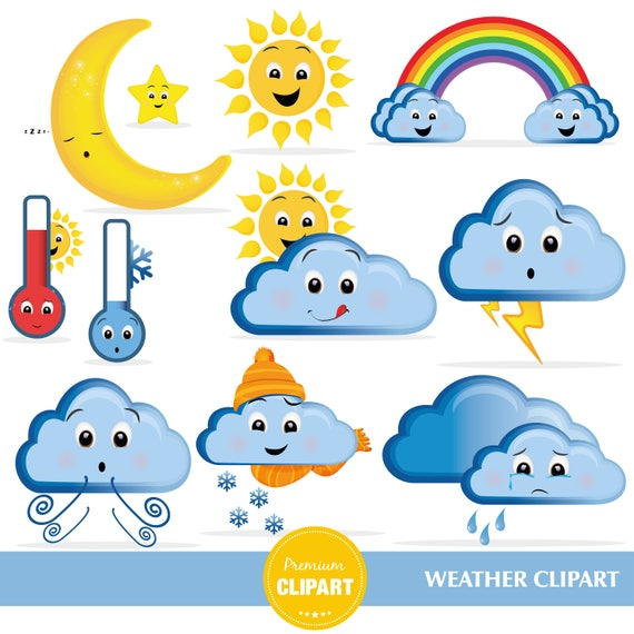 weather clipart weather icons rainbow clipart weather graphics rh etsystudio com weather clip art for preschool weather clip art free