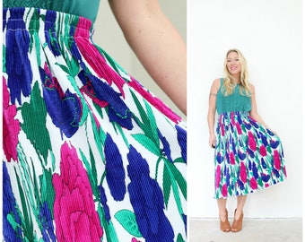 """1980s Crinkle Jewel Midi Skirt /// Size Extra Small to Small /// Waist 26"""" to 29"""""""