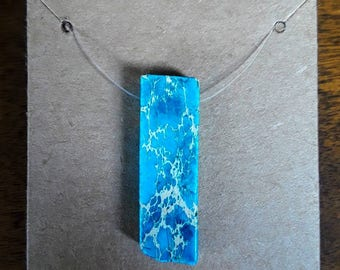 Handmade Floating Illusion Blue Stone Pendant