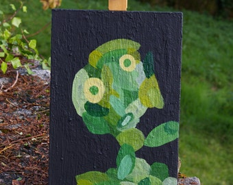 """Painting signed  Rafael Dhyan Holguin, titled """"The little green man"""", original work, small size, free shipping"""